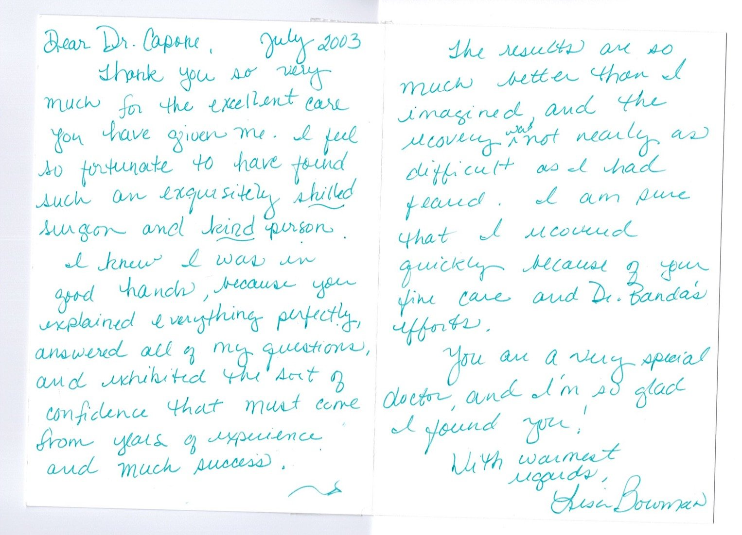 Letter of Thanks to Doctor and Staffer by Sarah