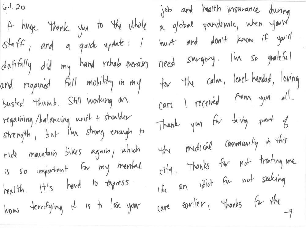 Letter of Thanks to Doctor and Staffer