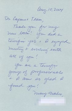 Letter of Thanks to Doctor and Staffer by Natalie