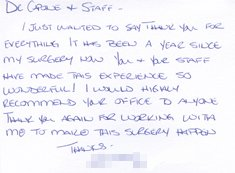 Letter of Thanks to Doctor and Staffer by Heather