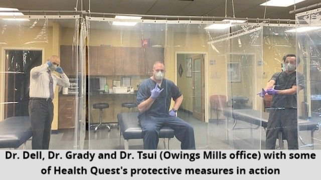Dr. Dell, Dr. Grady and Dr. Tsui (Owings Mills office) with some of Health Quest's protective measures in action