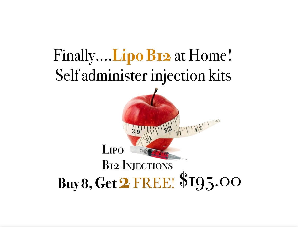 Finally Lipo B12 at home! Self adminster injection kits. Buy 8, Get 2 FREE for $195. Lipo B12 Injections