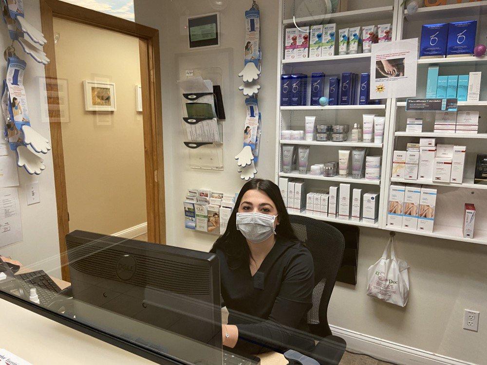 Employee with mask