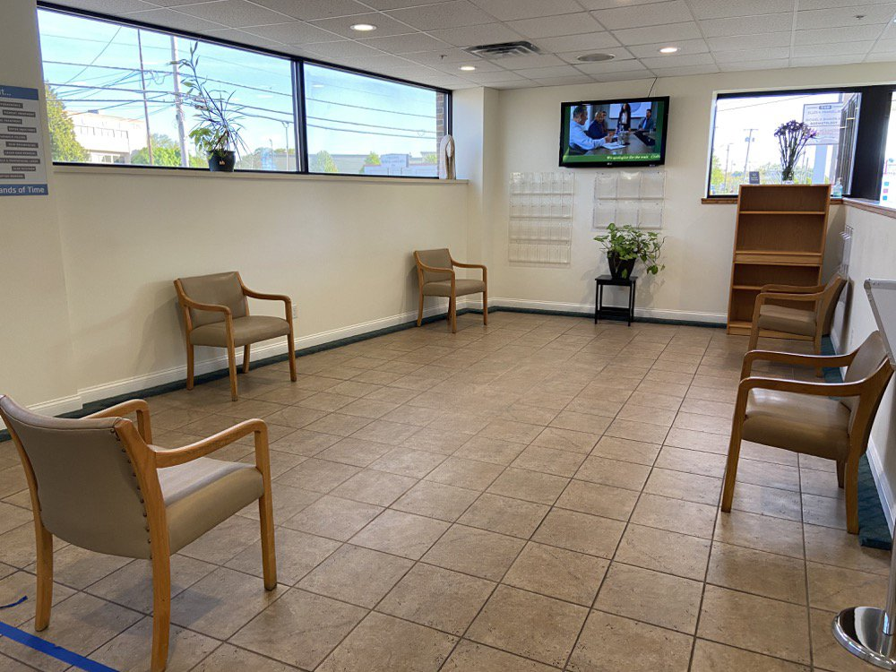 Socially distant seating in the waiting room