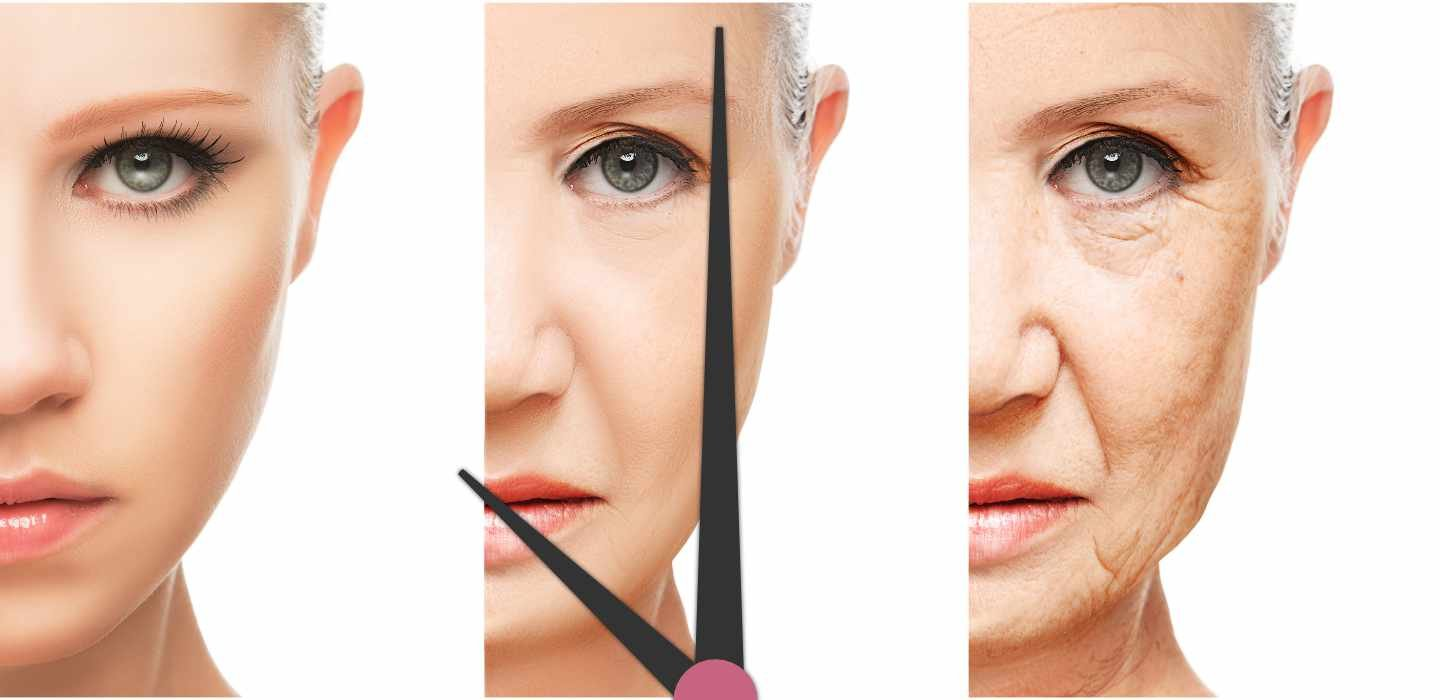 Woman's face aging