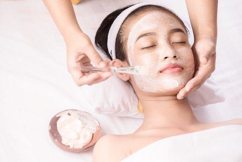 Teen girl getting a facial