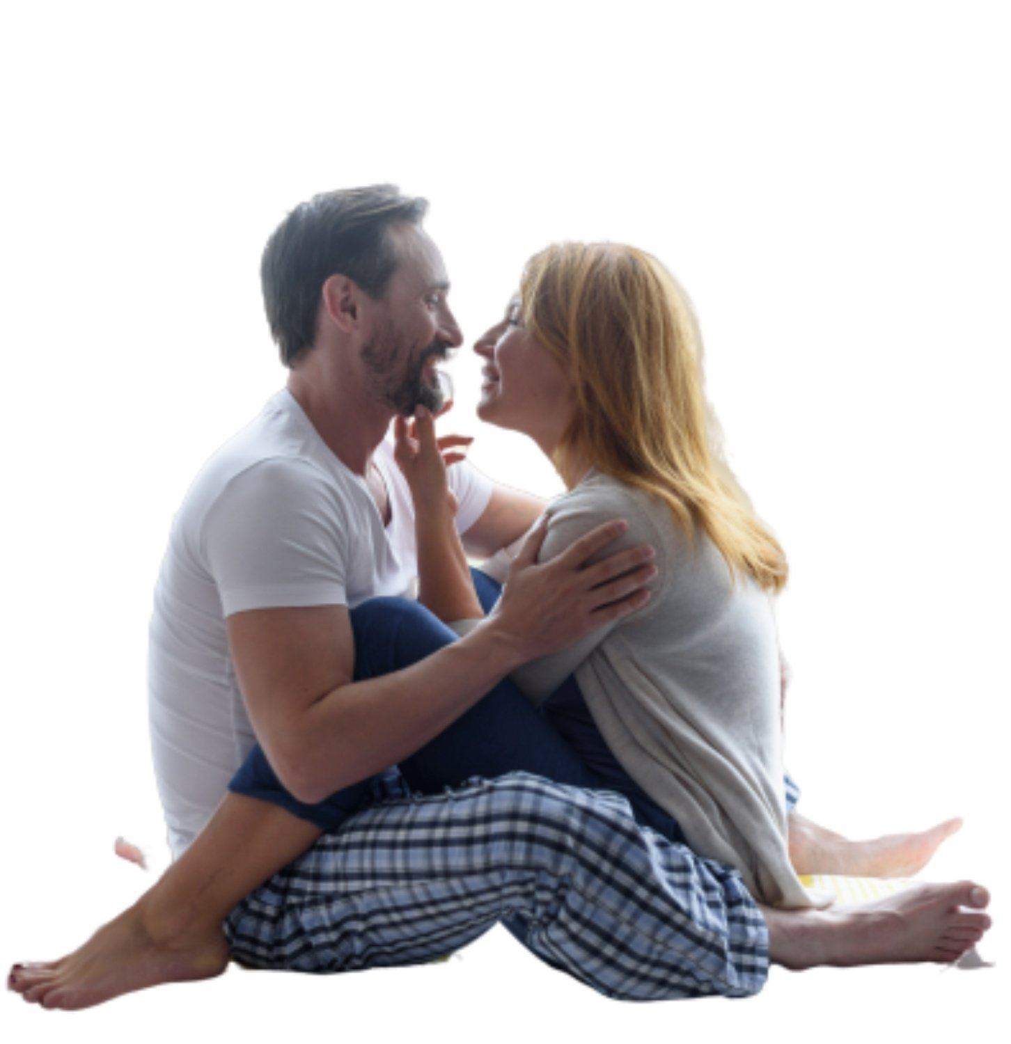 man and woman looking for closeness