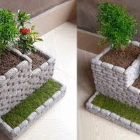 Flower pot making from styrofoam and cement | How to make flower pot