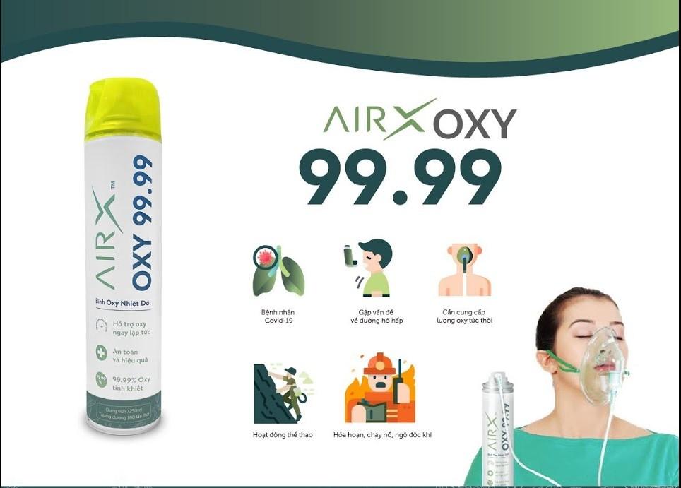 Bình Oxy AirX được sử dụng cho những bệnh nhân Covid-19, gặp vấn đề về đường hô hấp, các hoạt động thể thao và trong trường hợp hỏa hoạn.