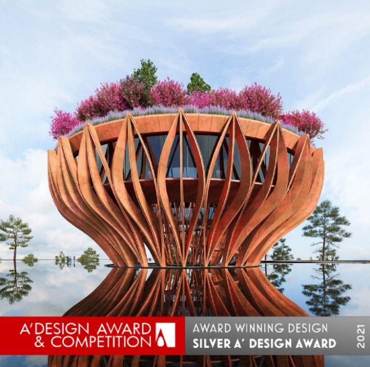 "Giải Bạc A'Design Award & Competition 2020-2021: tháp quan sát & coffee shop ""Flowers of Clouds""."