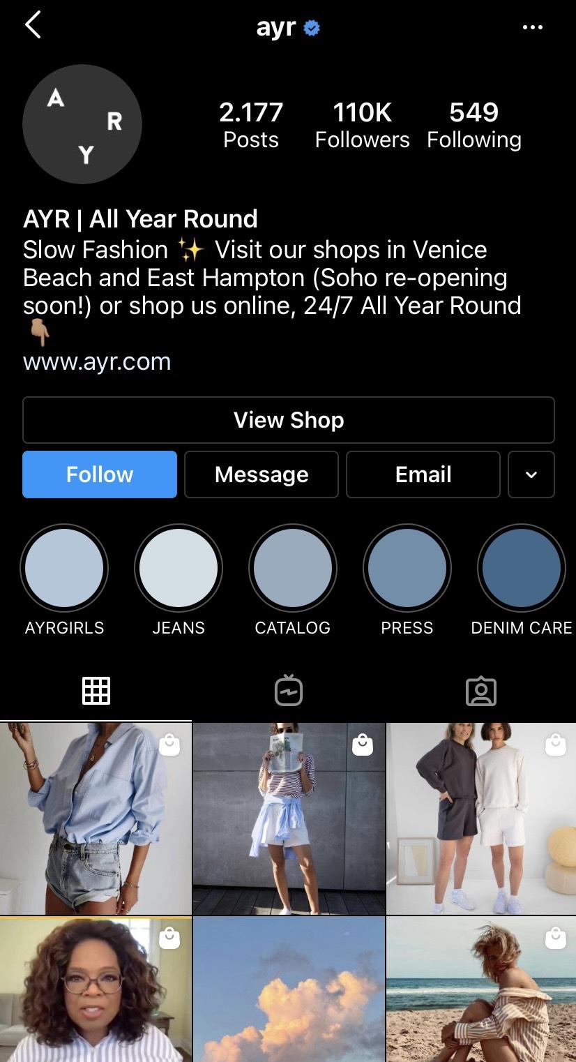 Trang cá nhân của hãng thời trang Ayr trên mạng xã hội Instagram.