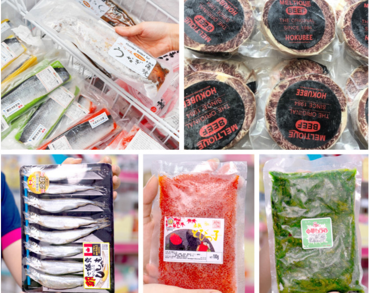 Các sản phẩm đông lạnh đa dạng chủng loại nhập khẩu trực tiếp từ Nhật tại Sakuko.