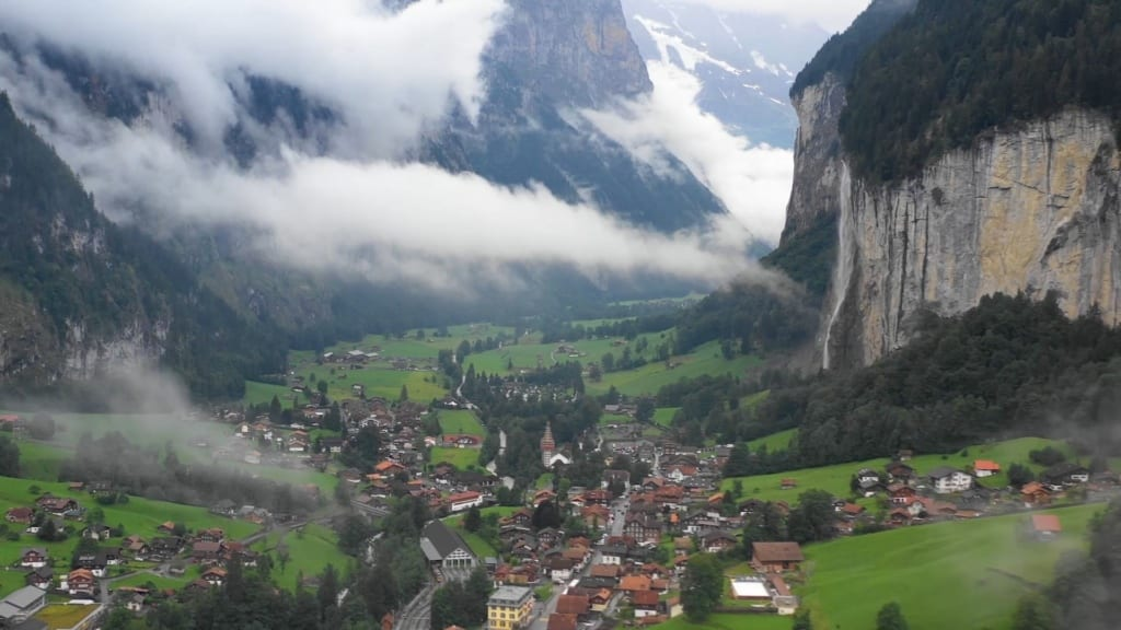 Famous valley with Switzerland market