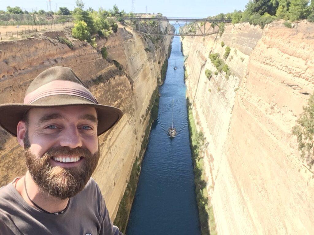Torbjørn C. Pedersen (Thor) taking a selfie at the Corinth Canal