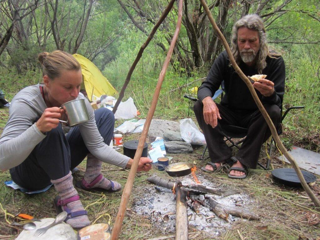 Miriam Lancewood and Peter camping