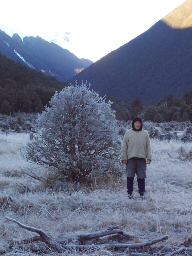 Miriam Lancewood standing with a woolen sweater