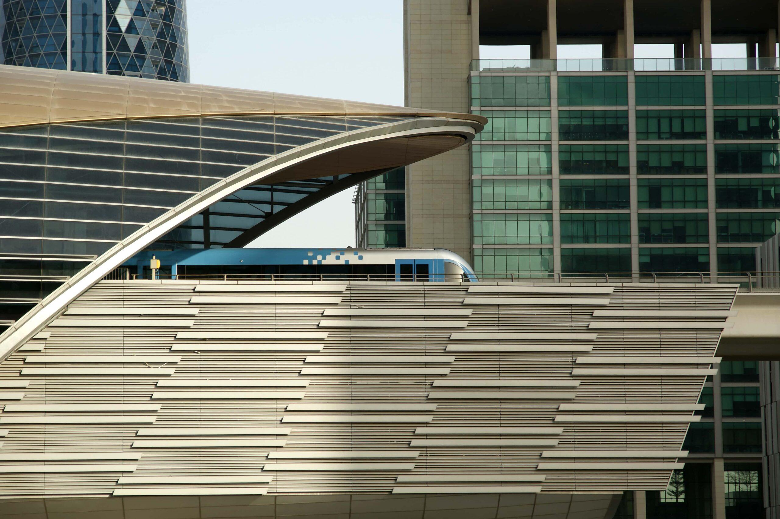Dubai Metro station with a car leaving