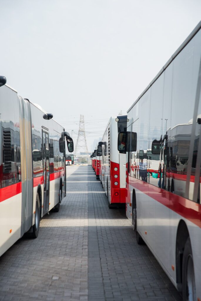 public transport rta buses dubai lined up at the bus station