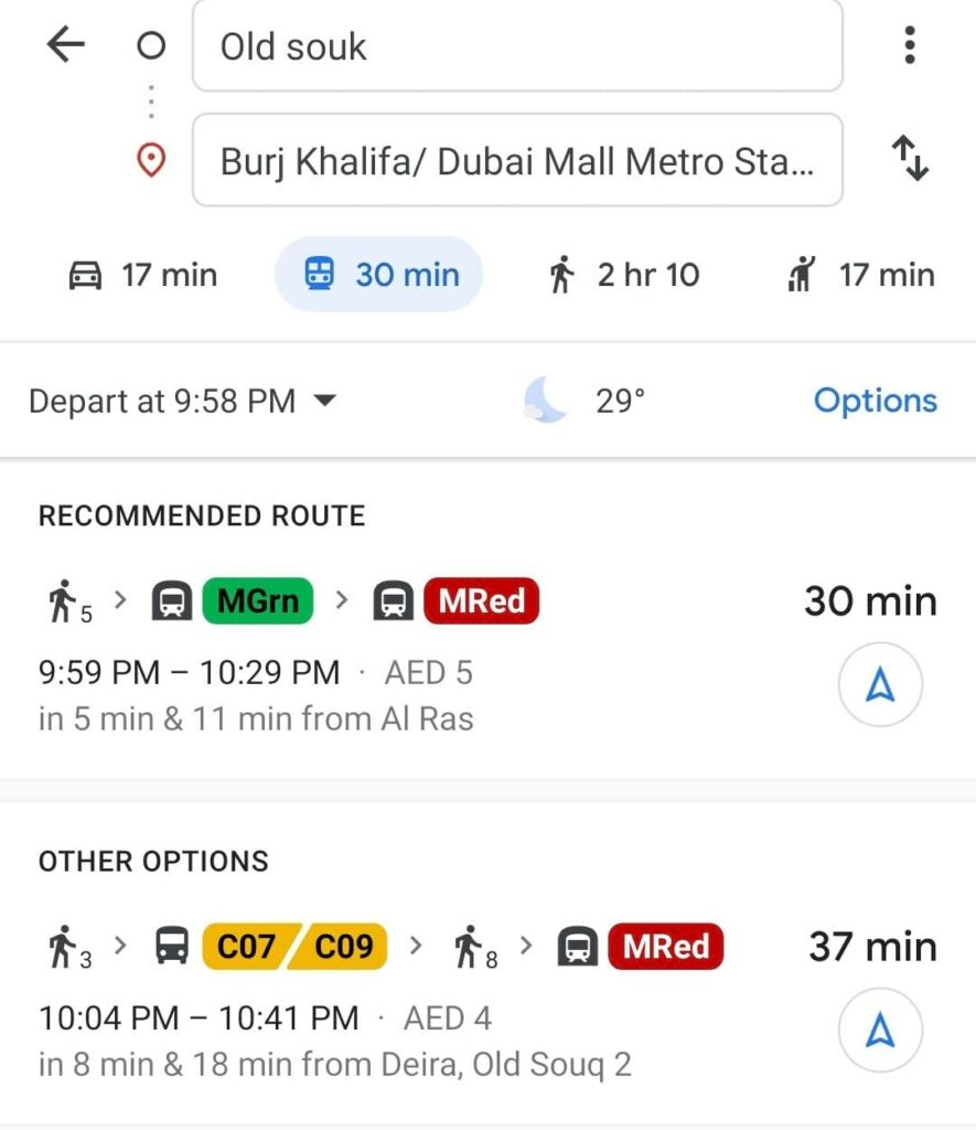 Google maps screenshot of route from Old Souk to Dubai Mall Metro station