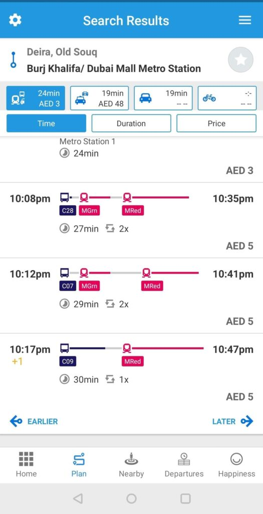 S'hail app screenshot for route from Old Souk to Dubai Mall metro Station