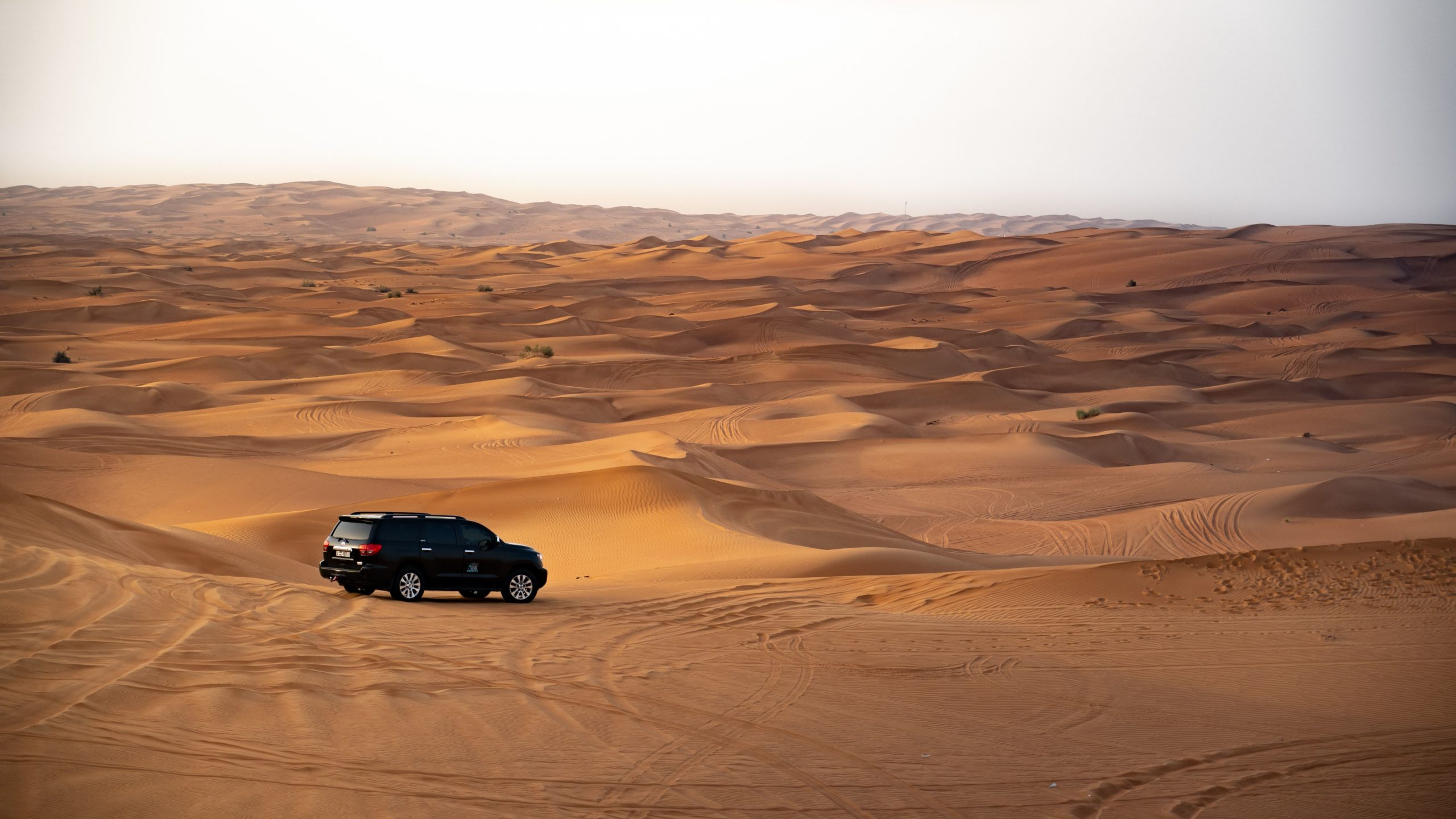 A black toyota on dunes of sand in the desert