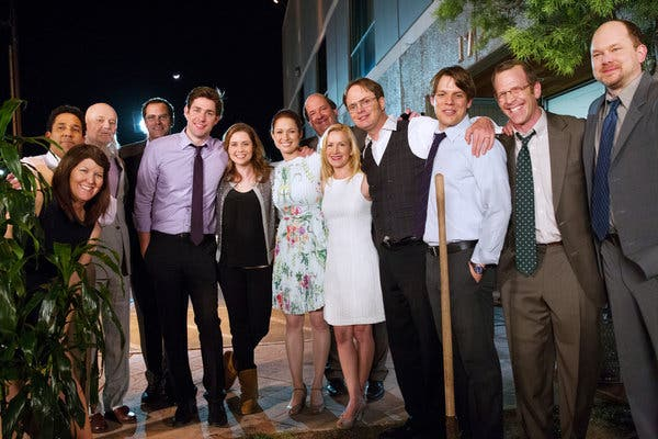 The Office Cast at the the shoot location in Panorama California