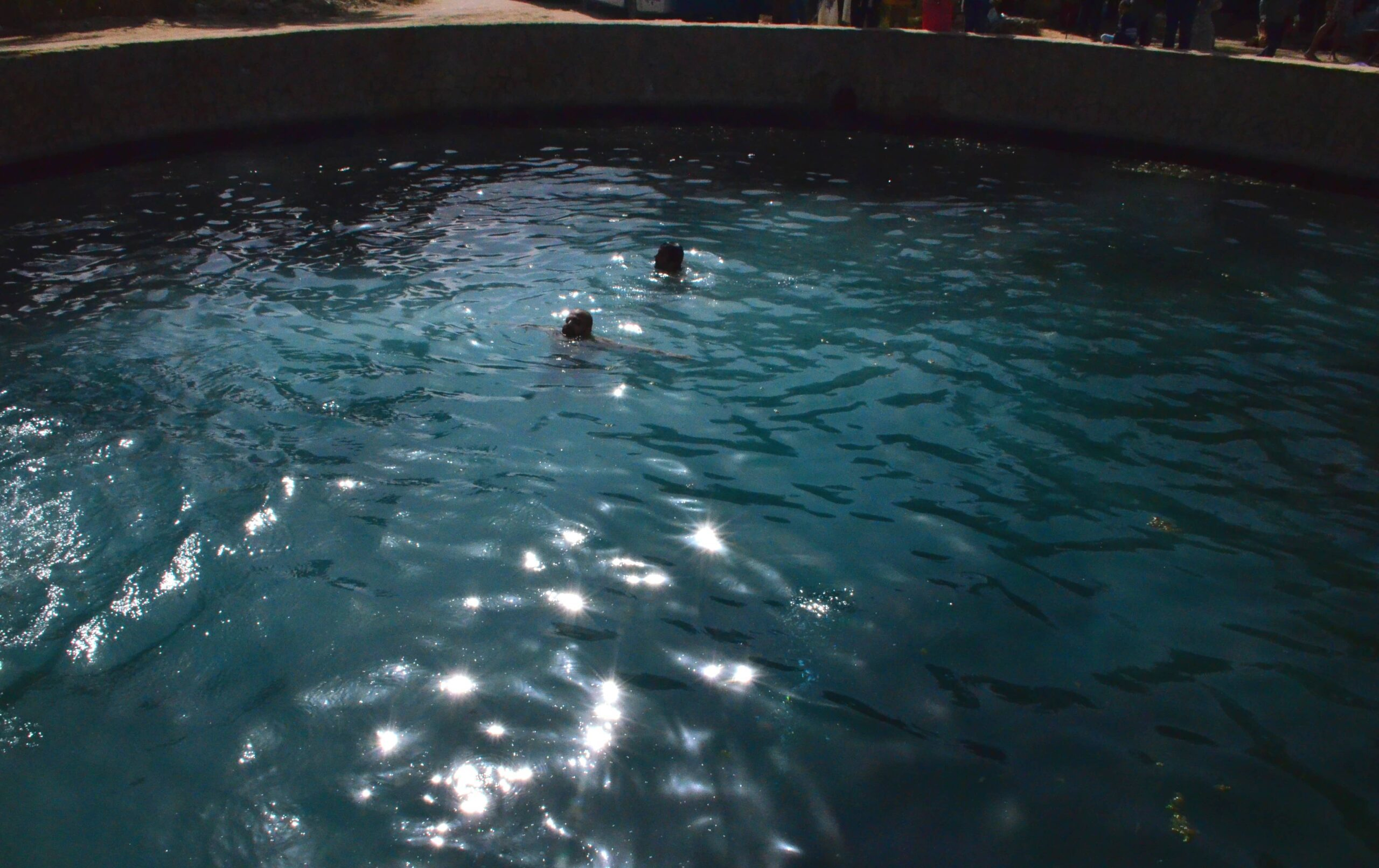 two people swimming in cleaopatra pool