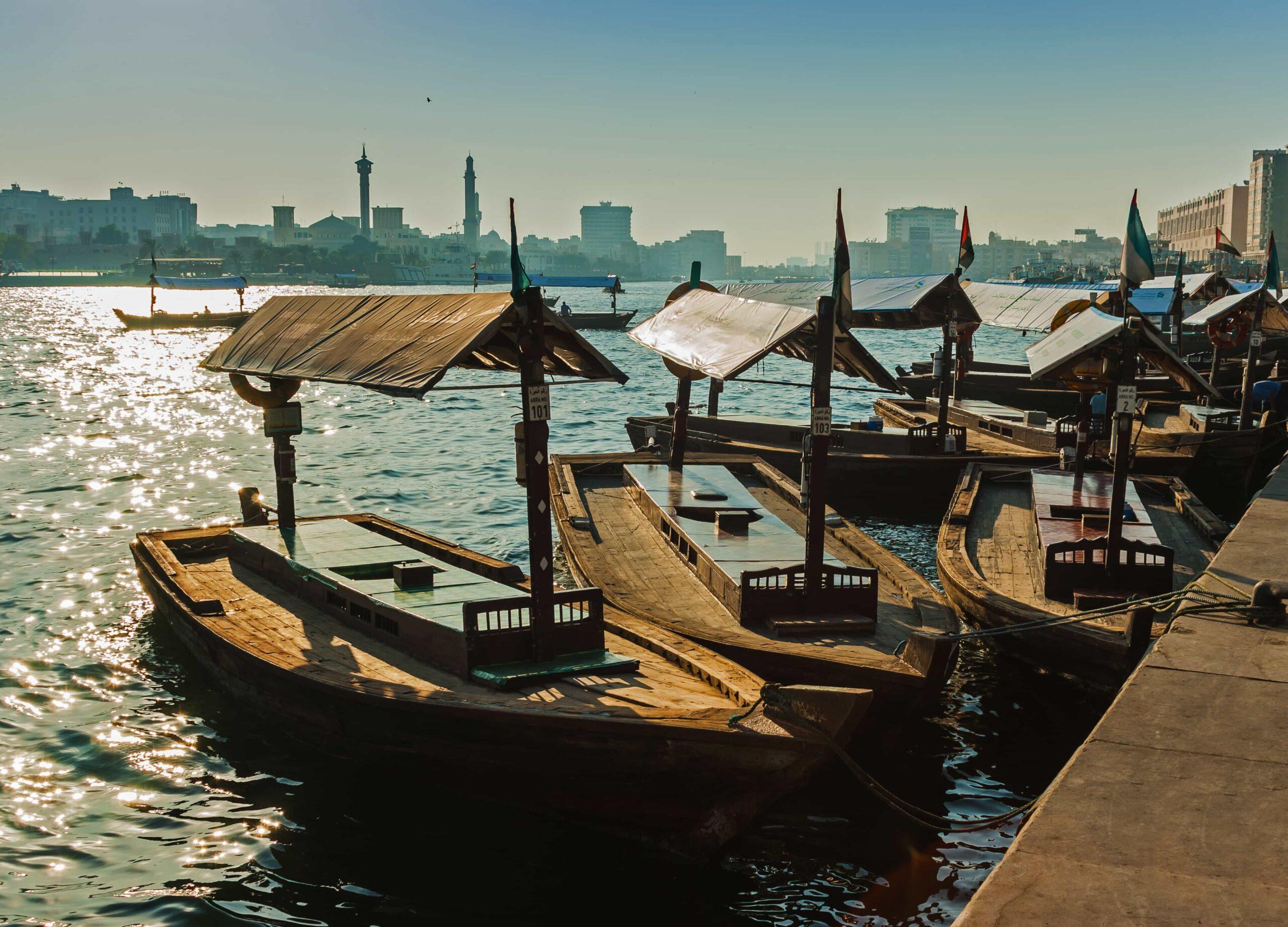 Abra Crossing Boats parked in Dubai Creek
