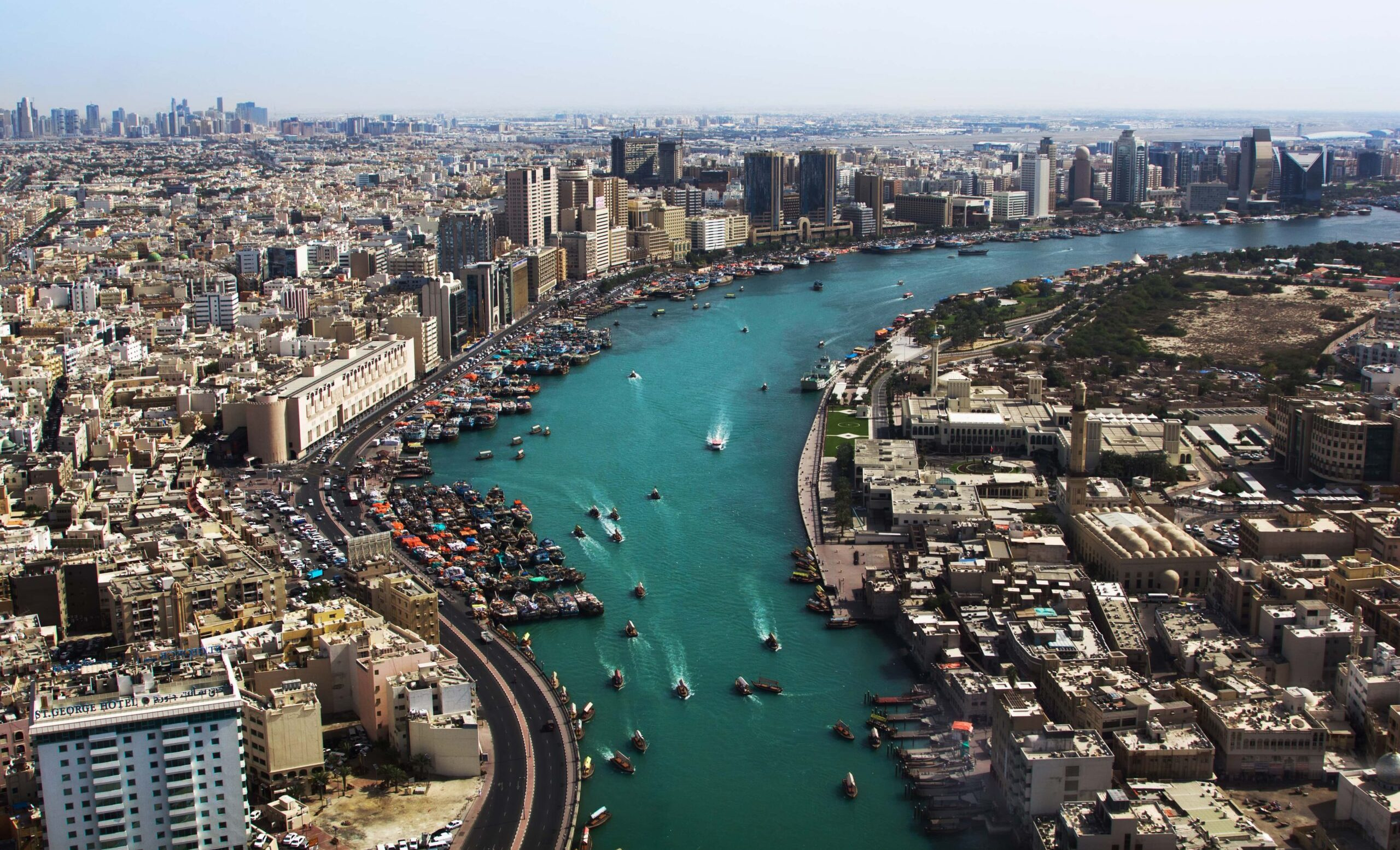 Top View of Deira Creek with boats across the abra