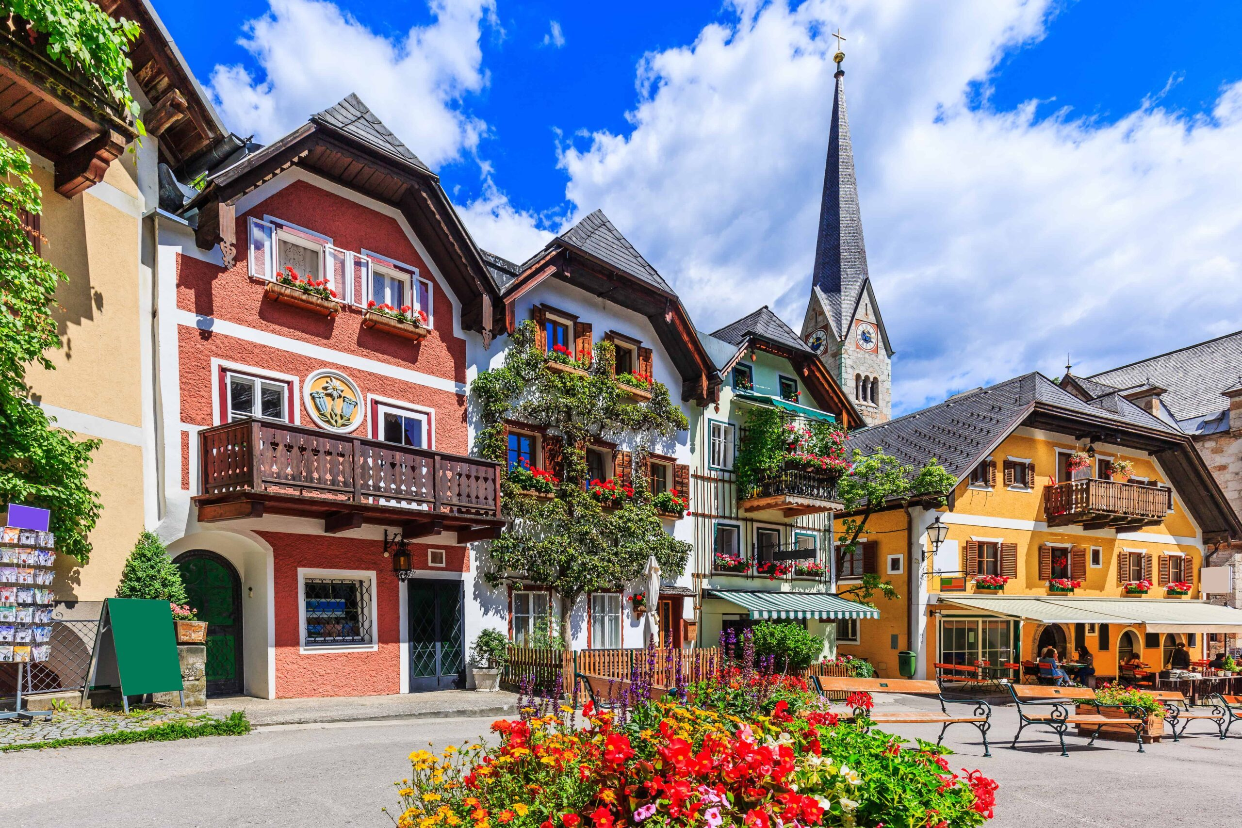 Picture of Old Town Austria with Blue Skies