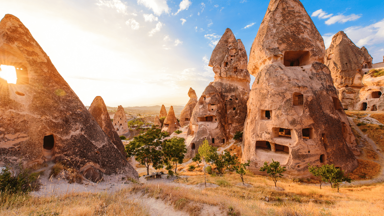 Sun overlooking the caves of cappadocia turkey