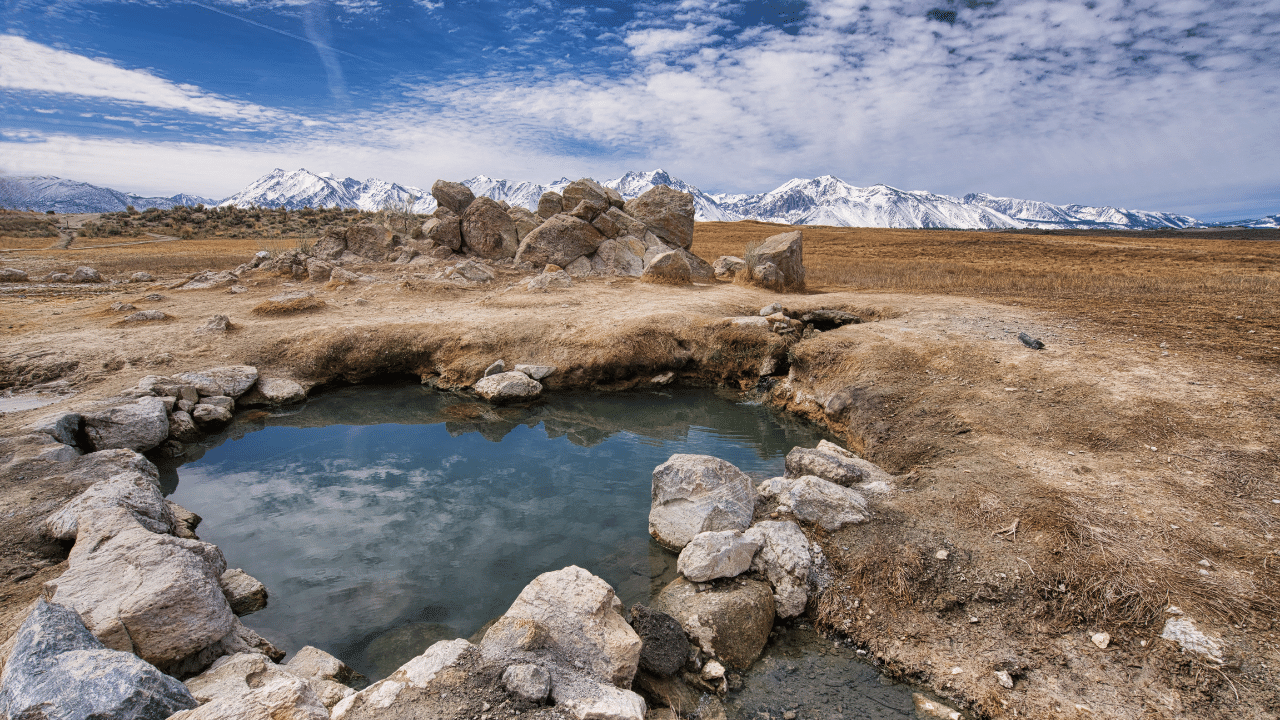 Beautiful little hot spring with therapeutic mineral water near Bishop, California.