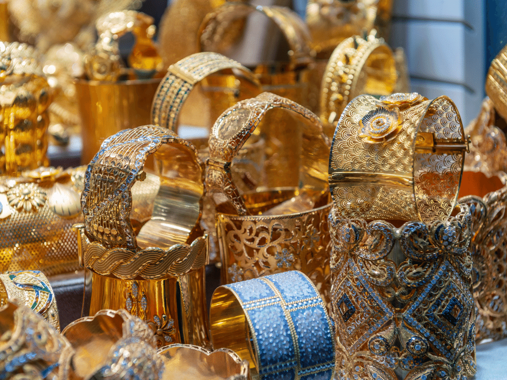 Gold jewelry being displayed in Gold Souk Deira