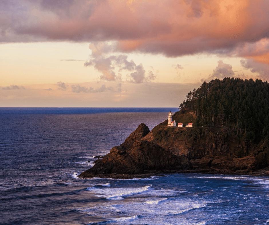 Panaromic view of Heceta Head Lighthouse
