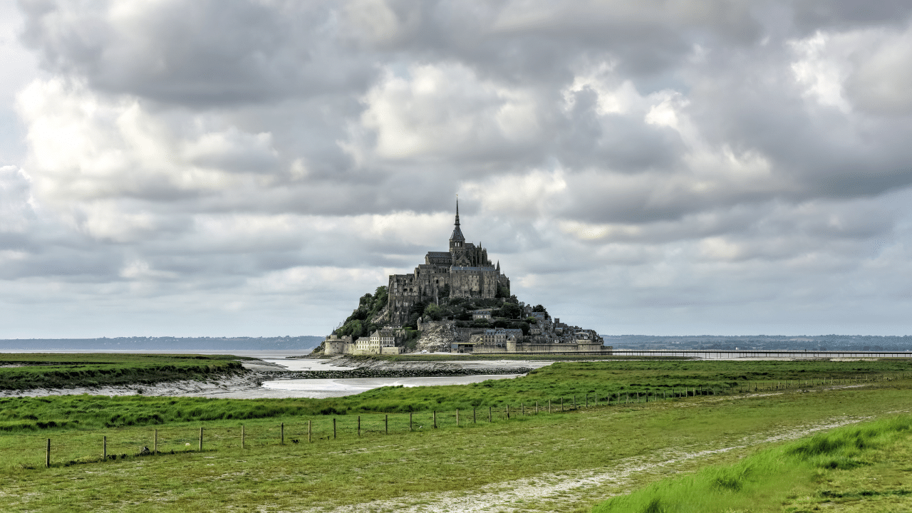 Beautiful Mont Saint-Michel cathedral on the island, Normandy, Northern France, Europe