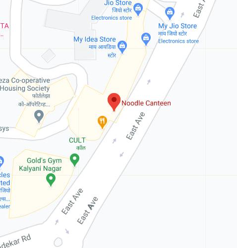 Noodle canteen google maps screenshot located near Gold's Gym Kalyani Nagar