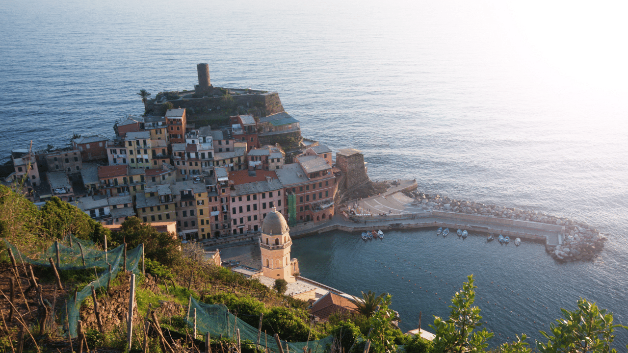 Aerial view of Vernazza fishing village in Cinque Terre national park, Italy