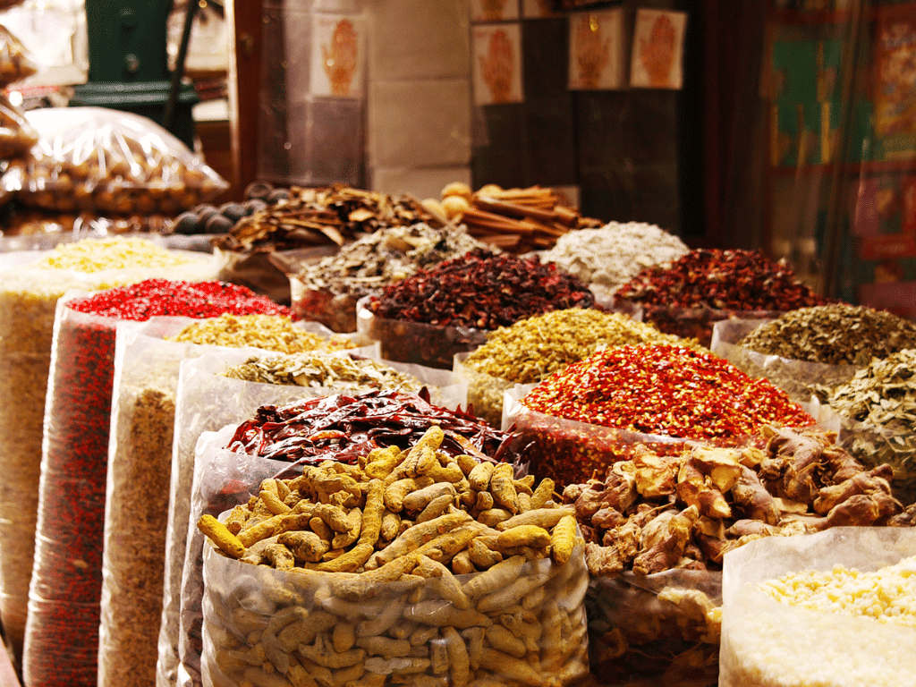 Spices on display at the Spice Souk Deira