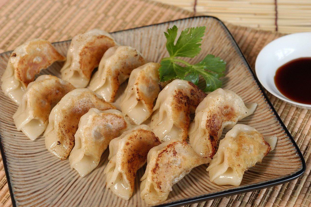 Gyoza japanese dumplings on a plate