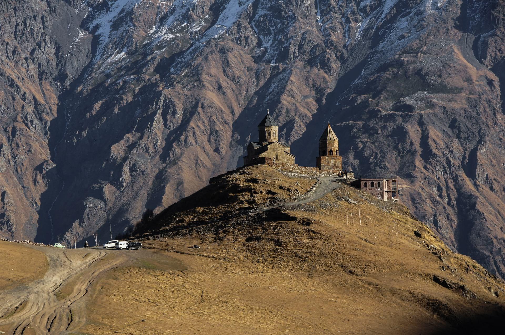 Gregeti Trinity Church on a green mountain