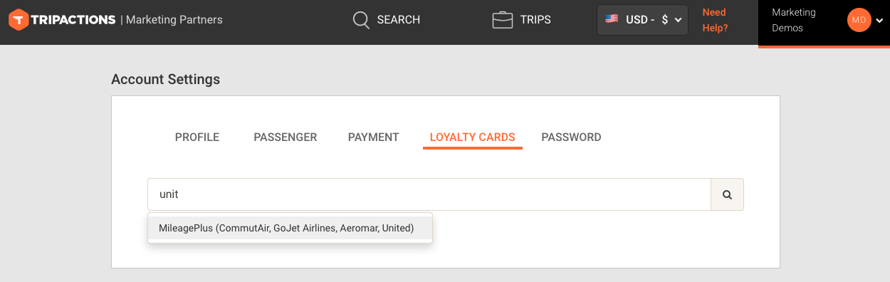 loyalty cards tab