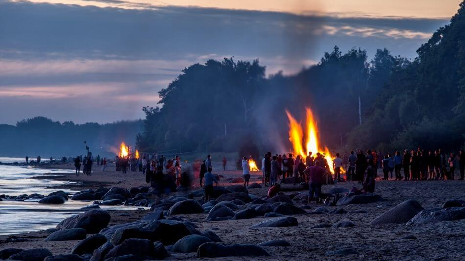 Summer solstice bonfires at the beach
