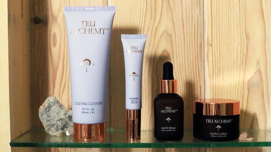 Tru Alchemy Celestial Cleanser, Eye Elixir, Glow Serum and Quench Crème