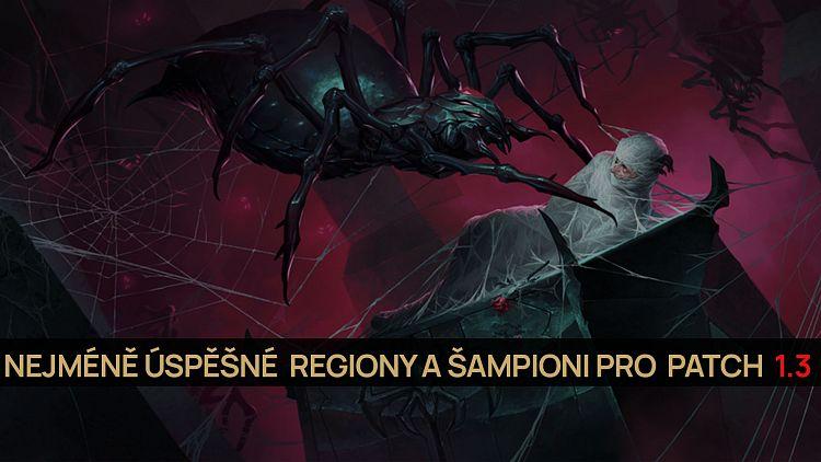 Nejméně úspěšné regiony a šampioni pro patch 1.3