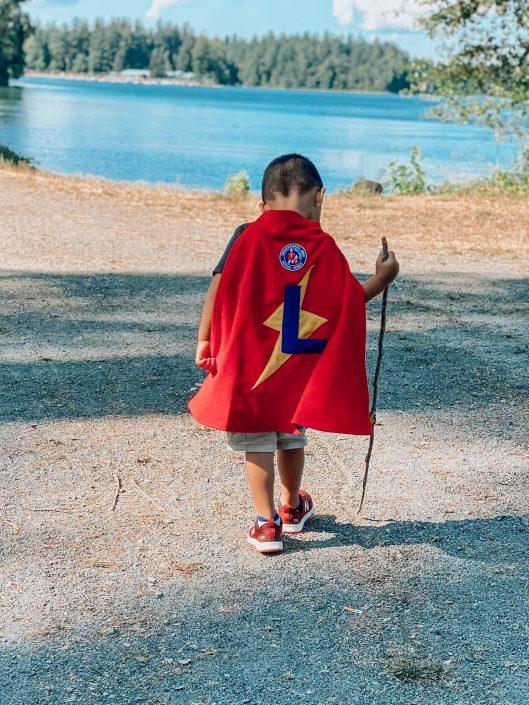 Super Luke hikes toward a pond!