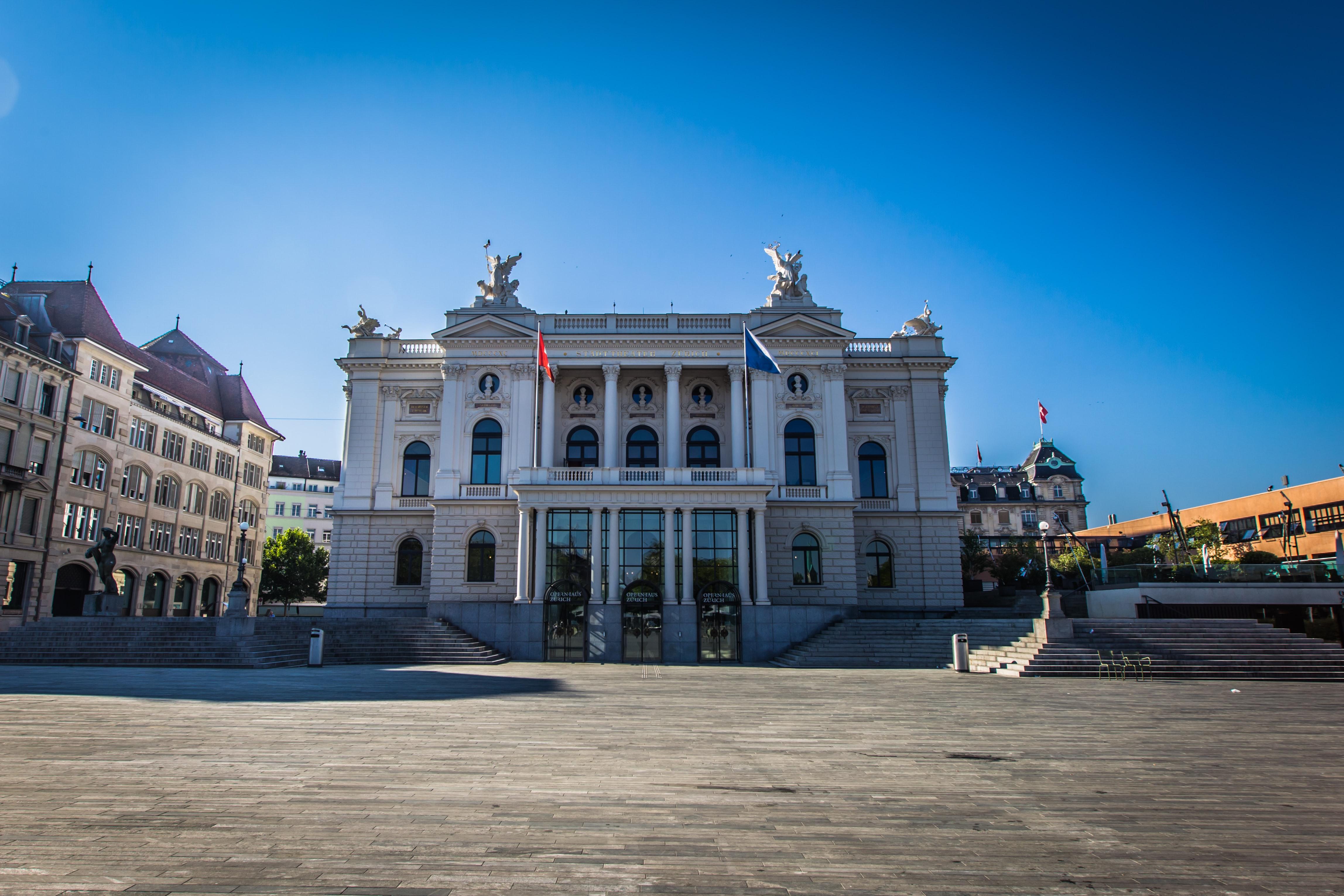 Opera House in the Swiss city of Zürich - located on Sechseläutenplatz
