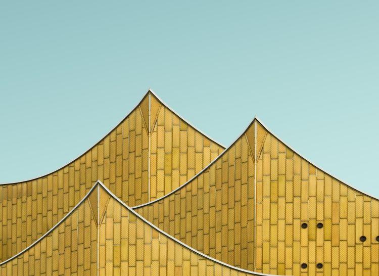 Pointed facade of Philharmonie Berlin in Germany