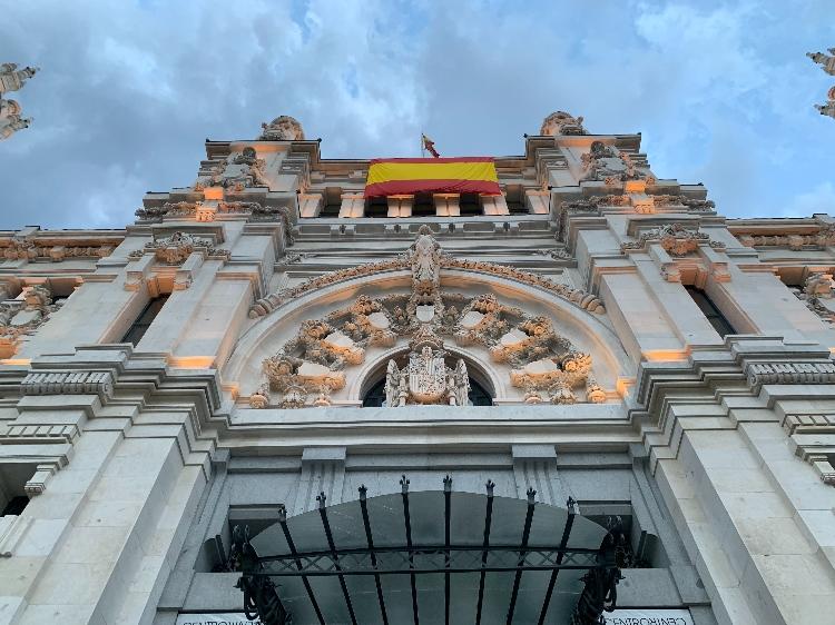 Close-up facade of Plaza de Cibeles in Madrid Spain