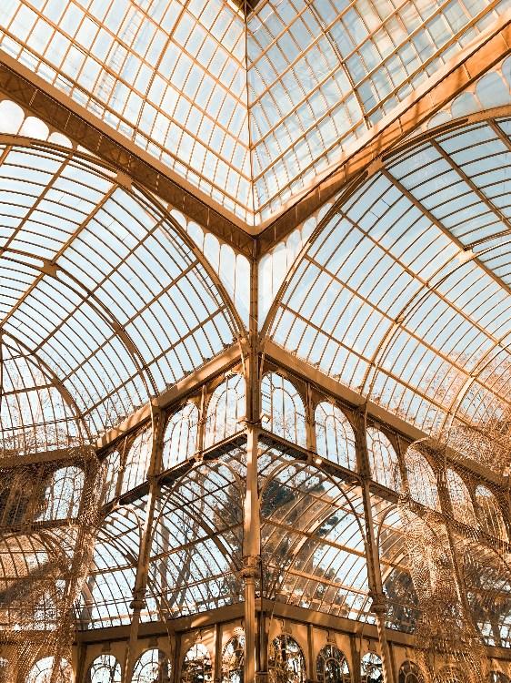 Interior of Palacio de Cristal in El Retiro Park, Madrid, Spain