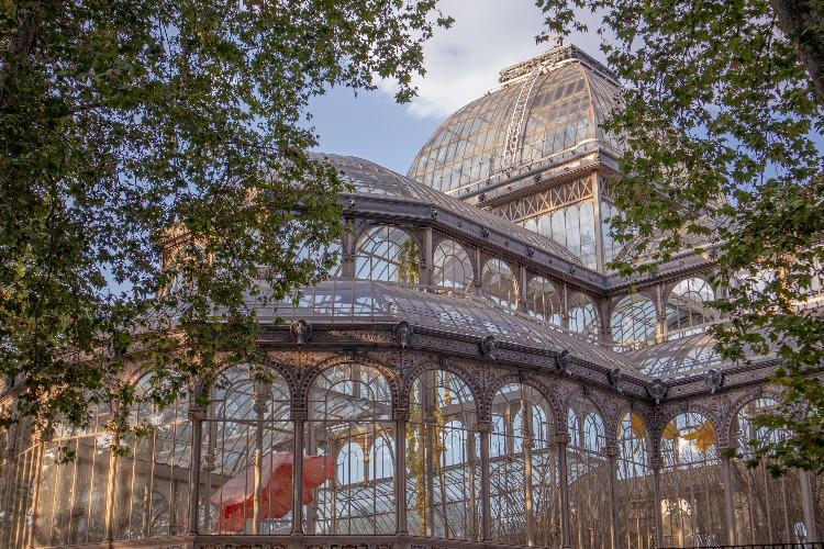 Exterior of Crystal Palace in El Retiro Park in Madrid, Spain